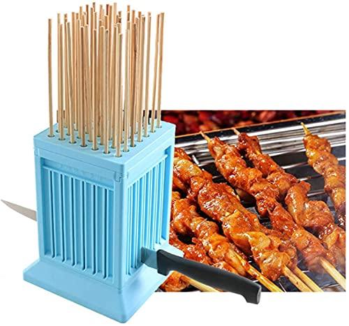 FCCD 4pcs Cubo Fabbrica Spiedini Arrosticini Creatore Rapido per Carne e Verdure Barbecue Spiedini arrosticini cubo Barbecue Stringer 49 Buche Barbecue Grill Shish Kebab Maker Kit Strumento(Blue)