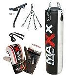 Maxx 5 Pcs set, 5FT BLACK WHITE Heavy Filled Punch bag, punching bag