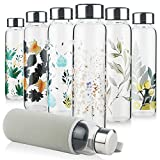 Reeho Borosilicate Glass Water Bottle, Sports Glass Drinking Bottle with Neoprene Sleeve and Stainless Steel Lid 16oz / 32oz (16oz, Flower Clusters)