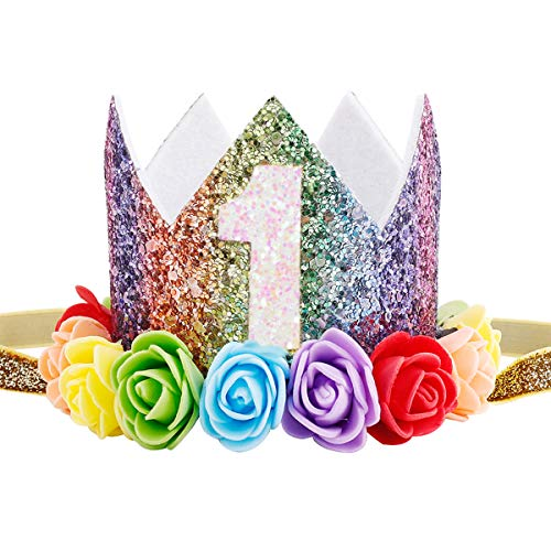 Maticr Baby Girl Glitter 1 2 3 First Birthday Rainbow Flower Crown Hat Floral Tiara Headband for Photo Prop (Number 1)
