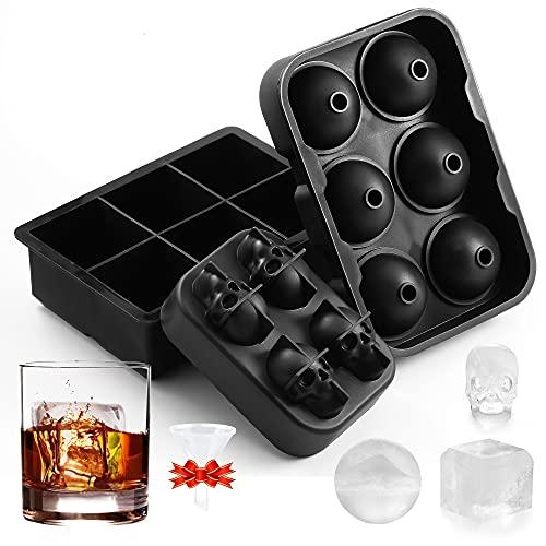 Quikobo Eiswürfelform Silikon Combo Formen - 3er Set, Kugel-Eis Bereiter, große Würfel & Skelett Eisformen mit Deckel, Flexible Eiswürfelform für Whiskey, LFGB zertifiziert und BPA-frei