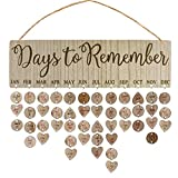 IMIKEYA Calendario de Madera DIY Calendario Recordatorio Placa Colgante de Pared Días Calendario para Recordar Artesanía de Madera Regalo Colgante para Familia Cumpleaños Aniversario Festival