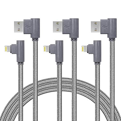 iPhone Charger Cable 3 Pack 3ft 90 Degree Lightning Cable Nylon Braided Charger Lead USB Fast Charging Cable for iPhone Xs Max/XR/X/8/8 Plus/7/7 Plus/6/6S/6 Plus/5S/SE/Mini/Air/Pro(3FT, Grey)
