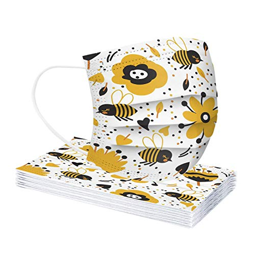JUFANaizenem Biene Weltbienentag Einwegmasken Bunt,Bedruckt Mundschutz 3-lagig Gesicht Bandana Kopftuch Staubschutz Atmungsaktiv,Einmal Multifunktionstuch Halstuch