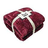 U UQUI Wine Blanket Flannel Fleece Blanket Burgundy Blankets and Throws Premium Flannel Fleece Throw Blanket Plush Microfiber Double-Sided Lightweight Cozy Blanket Red Throw 78x90 Inches