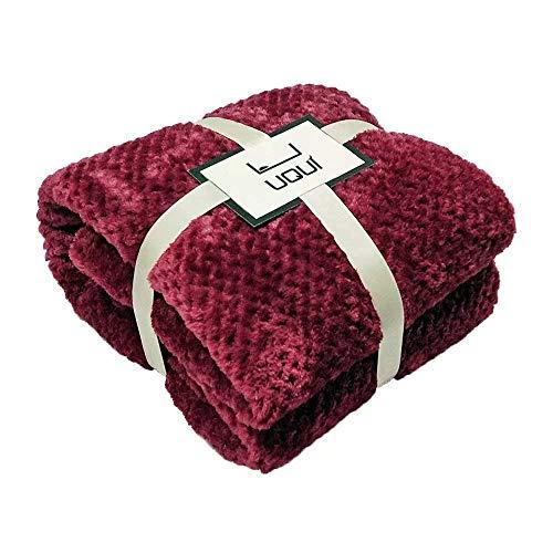 Microplush Velvet Fleece Blanket - Twin/Twin Extra Long - Ultra-Soft - Luxurious Fuzzy Fleece - Cozy Lightweight - Easy Care - All Season Premium Bed Blanket 66x90 Inches Wine