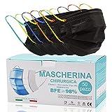 50 Stück,Medizinische Masken Mundschutz,op Masken schwarz,CE Zertifiziert typ IIR mit BFE ≥ 98% Einwegmasken für Erwachsene,Bequeme und feste Ohrbänder,Bunte und modische Ohrbänder für Maske