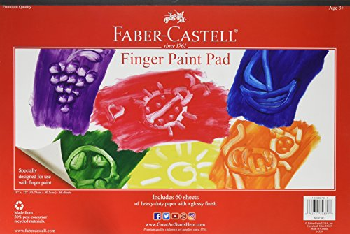 FaberCastell Finger Paint Paper Pad  Fingerpaint Paper for Kids  60 Sheets 12 x 18 inches