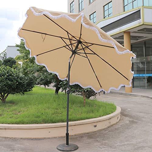 Sombrilla Grande Paraguas de Mesa de Jardín 9 Pies Ronda Patio Botón de Inclinación y Manivela, para Protegerse del Sol al Aire Libre