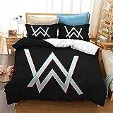 WFBZ - Juego de fundas de edredón y almohadas de Alan Walker DJ y productor musical - Juego de cama para 1 o 2 personas fabricado en microfibra, microfibra, 04, 200x200cm+50x75cmx2