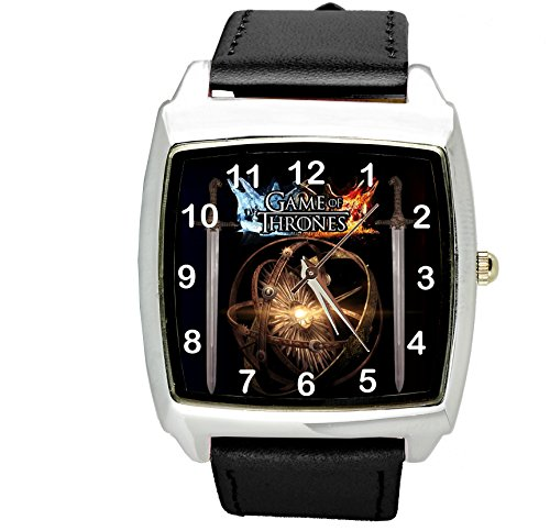 taport® Juego de Tronos cuadrado negro real cuero cuarzo reloj + libre batería de repuesto + libre bolsa de regalo