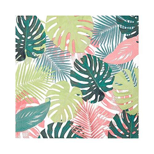 Talking Tables Servilletas de papel de hojas de palmera tropical en colores pastel, desechables, vajilla para cenar, cumpleaños, fiesta en el jardín, verano, picnic, safari, hawaiano, decoupag