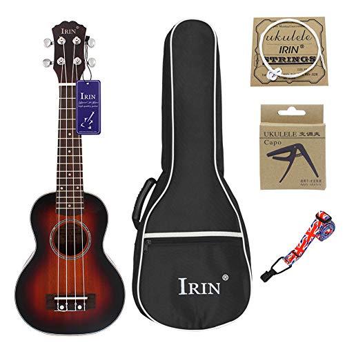 XuBa Ukelele de 21 pulgadas, concierto de 4 cuerdas, instrumentos musicales, 15 trastes, madera de abeto hawaiano, guitarra pequeña, Sunset color.