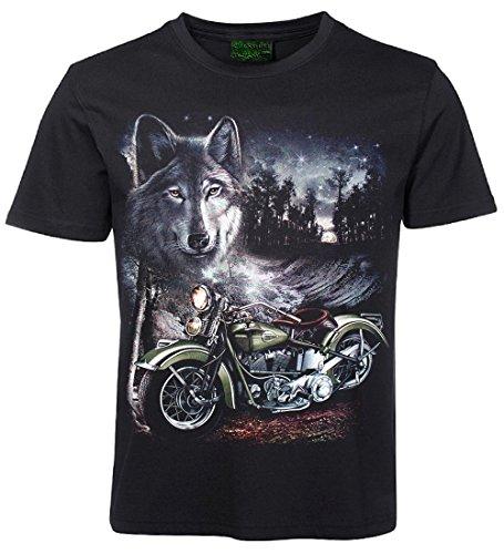 Biker T-Shirt Motorrad und Wolf Größe L