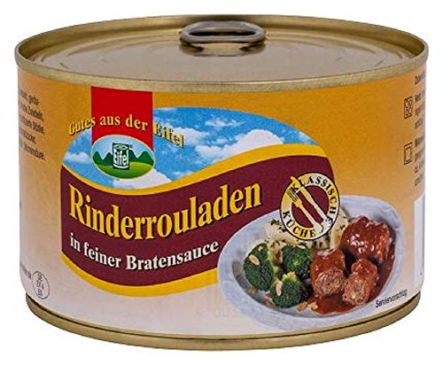 2 Rinderrouladen Nach Hausfrauen-Art gefüllt, in feiner Bratensauce.400gr Dose