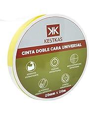 Cinta Doble Cara Fuerte Fijación 20mm x 20m KESTKAS Múltiples aplicaciones - Alfombras - Tejidos - Cristal - Madera - Pared - Plástico - Metal - No deja residuos.