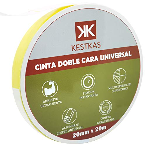 Cinta Doble Cara Fuerte Fijación 20mm x 20m KESTKAS Múltiples aplicaciones -...