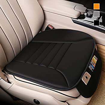 Lofty Aim Premium Car Seat Cushion Driver Seat Cushion with Comfort Memory Foam & Non-Slip Rubber Bottom with Storage Pouch Car Seat Pad Works with 95% of Vehicles and Office Chair or Home  Black