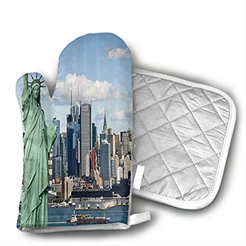 New York Statue of Liberty in NYC Oven Mitts and Pot Holders, Extra Long Professional Kitchen Cooking Mitts, Oven Gloves with Waterproof Non-Slip Textured Grip