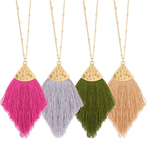Hicarer 4 Pieces Bohemian Tassel Necklace Silk Thread Statement Necklace Feather Shape Chain