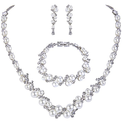 EVER FAITH Kristall Ivory Farbe kuenstliche Perle Braut Halskette Ohrringe Armband Set Silber-Ton