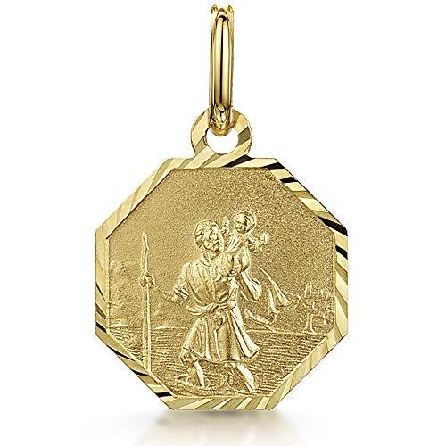 Amberta Médaille Unisexe en Or Jaune 9 Carats: Saint-Christo