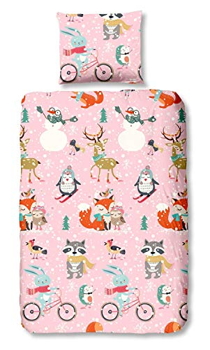 Good Morning Bettwäsche 5843 Sweet Winter Pink Flanell, Größe:135x200 cm + 80x80 cm