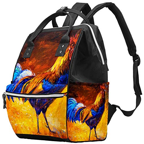Grand sac à langer multifonction pour bébé - Sac à dos de voyage - Pour maman et papa - Peinture à l'huile - Coq