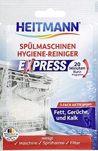 HEITMANN Express Spülmaschinen Reiniger 30g: Reiniger für Geschirr, 3fach aktiv gegen Fett, Kalk, Gerüche, wirkt schon im Kurzprogramm, spart Zeit, Energie und Kosten