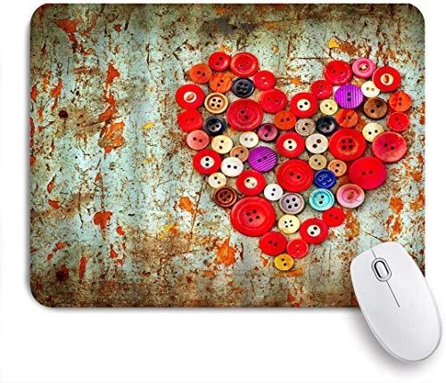 Dekoratives Gaming-Mauspad,Kleiderknopf mit Herzbild auf schäbiger Wand Retro farbige Schnalle Nostalgic Era Room Wall Romance Design,Bürocomputer-Mausmatte mit rutschfester Gummibasis