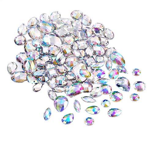 Anyasen Pedrería para Coser 200 Piezas AB Gemas Cristales Transparentes de Coser de Acrílico Facetados Diamantes de Imitación de Espalda Plana para Decoración de Vestido Ropa