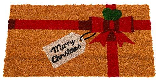 """Toyland® Seasonal Brown Paket mit Schleife Frohe Weihnachten Kokos Fußmatte 66 cm x 35 cm (26""""x 14"""")"""