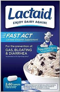 Lactaid Fast Act Lactose Intolerance Caplets, 120 Count Prevention of Gas Bloating Diarrhea Largest Bulk Size