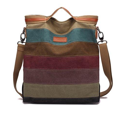 Handtasche Damen,KAUKKO Canvas Damen Stripe Stylisch Schultertasche Elegante Umhängetasche Bag für Mädchen Shopper