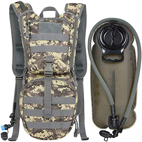 MARCHWAY Tactical Molle Hydration Pack Backpack with 3L TPU Water Bladder, Military Daypack for...