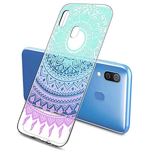 Oihxse Color Gradiente Funda Compatible con Huawei P8 Lite, Transparente Silicona Ultra Delgado Anti-rasguños Protector Case, Circulo Puntilla Flor Diseño TPU Cover