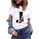 VEMOW Camiseta de Mujer Manga Corta Suelta con Cuello Redondo Talla Grande, Moda Impresión de 26 Letras Inglesas Basica Suelto Verano Camisa Tops Casual Fiesta T-Shirt para el Mejor Amigo(J,L)