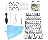 Kasmoire 70 Pcs Cake Decorating Tools kit-48 Numbered Piping Tips & 6 Reusable Pastry bag with...