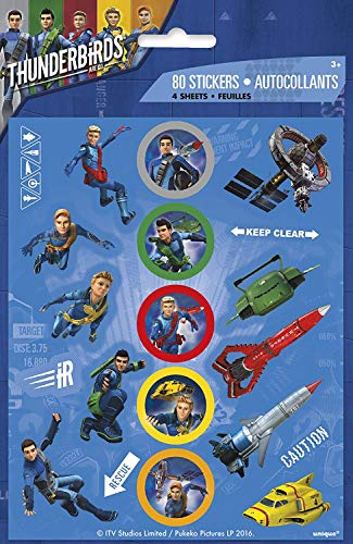 UNIQUE PARTY 48941 - Thunderbirds Sticker Sheets Party Bag Fillers, Pack of 4