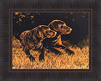 Time Out by Bonnie Mohr 17x21 Chocolate Labs Labrador Dogs Art Print Wall Décor Framed Picture
