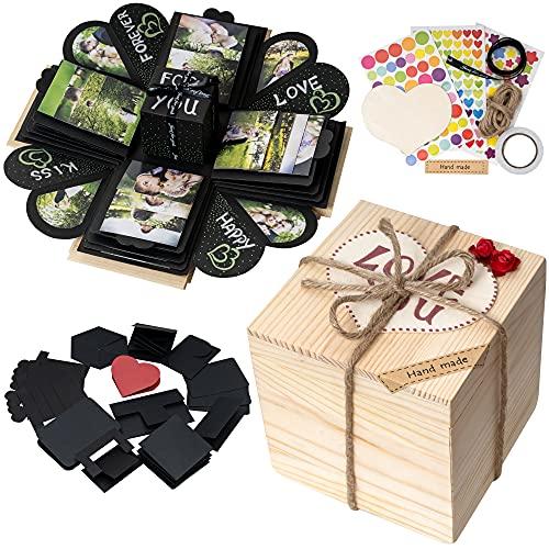 WoodExplosionBox Holzkiste Explosion Box Überraschungsbox – DIY Geburtstag Geschenk Box – Explosionsbox Bilder Kiste – Die Besondere Geschenkidee für Männer und Frauen