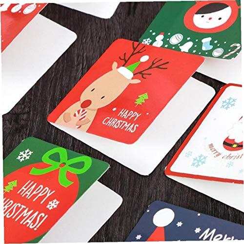 LAVALINK 12pcs / Set Karikatur-weihnachtsgrußkarte Kleiner Weihnachtsmann Hirsch Elch Frohe Weihnachten Postkarte New Year Geschenke Karte