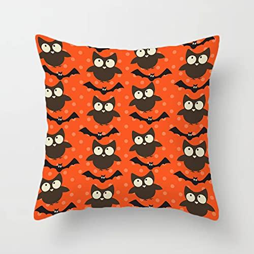 MissW Funda De Almohada Decorativa De Halloween Pumpkin Candy Series con Cremallera Sin Núcleo De Almohada Funda De Respaldo Lavable Adecuada para Silla De Sofá