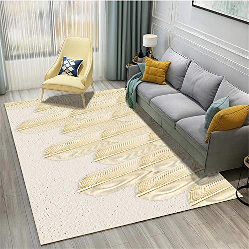 Xiaosua Home Carpets yellow Carpet Light yellow feather simple pattern soft balcony carpet durable Rugs And Mats 50X80CM Rugs For Living Room 1ft 7.7''X2ft 7.5''
