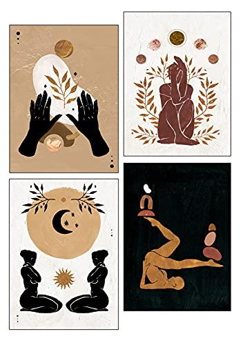 4-Pack Celestial Women Wall Art, New Age Gift, Boho, Modern, Moon, Yoga Decor, Nude Woman Silhouette, Photo Print, 8x10, Unframed
