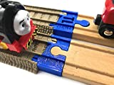 TrainLab Adapters Compatible with Trackmaster (2009 Brown) to Wooden Railway Train Tracks (2pc) (Blue)