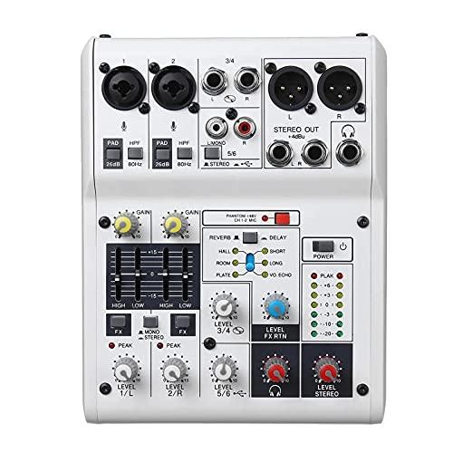 Audio-mixer 6-kanaals USB2.0 48V audio-mixer mengconsole voor gezins-KTV-spraakontmoetingen Eenvoudige bewaking en…