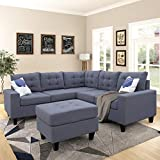 Merax Sectional Sofa with Chaise and Ottoman 3-Piece Sofa for Living Room Furniture,(Black)