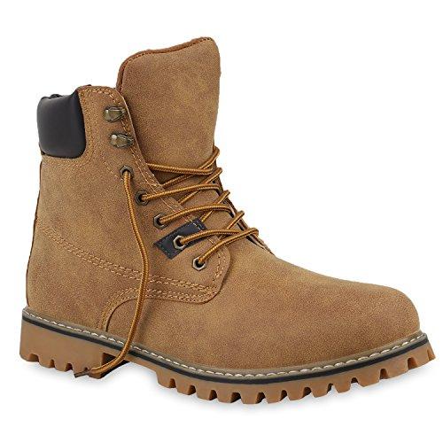 stiefelparadies Herren Schuhe Worker Boots Leicht Gefütterte Outdoor Profilsohle 153327 Hellbraun Avelar 44 Flandell