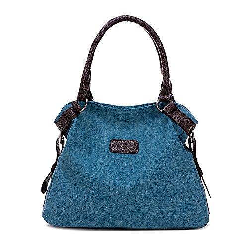 Borsa di tela, borsa a tracolla, borsa, all'aperto, semplice, blu, C0214